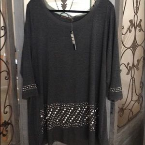 Tops - Plus size 3x gray with silver and gold studs. NWT